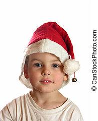 junge, in, weihnachten, kappe