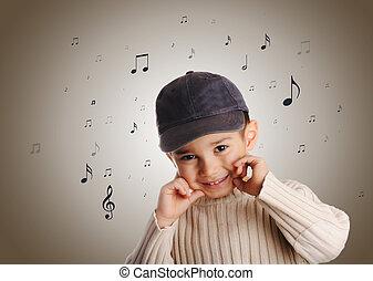 junge, jeansstoff, kappe, singende