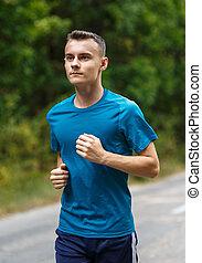 junge, jogging, durch, wald