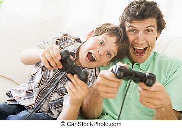 junge, junger, controller, spiel, video, lächelnden mann