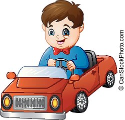 junge, karikatur, reiten, auto