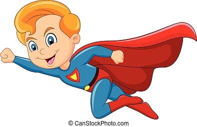 junge, karikatur, superhero, freigestellt
