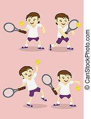 junge, karikatur, vektor, spielen tennis