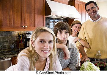 junge, kinder, familie, kueche , missbilligend, teenager