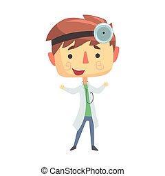 junge, kinder, illustration., doktor, zukunft, professionell, traum, besatzung
