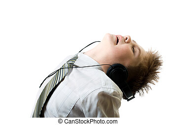 junge, kopf, junger, zuhören, telefone