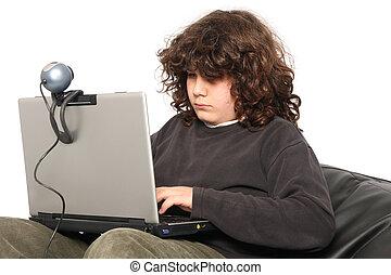 junge, laptop, gebrauchend