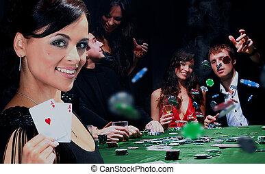 junge leute, haben, a, gute zeit, in, casino.