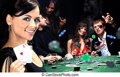 junge leute, haben, a, gute zeit, in, kasino