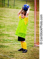 junge, liga, organisiert, junger, spiel, kind, während, fußball, spielende