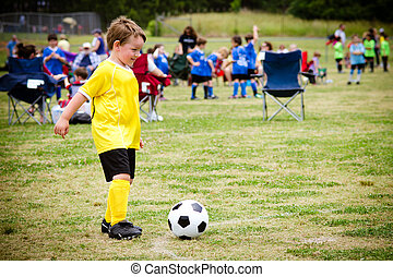 junge, liga, organisiert, junger, spiel, kind, während, ...