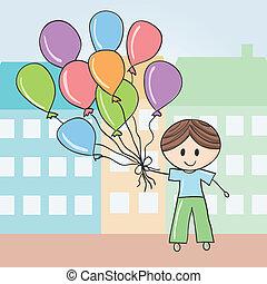 junge, luftballone, stadt