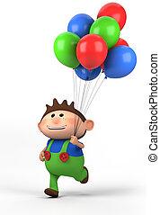 junge, luftballone