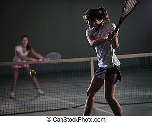 junge mädchen, spielen tennis, spiel, innen