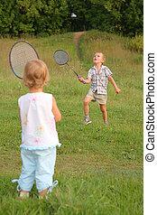 junge, m�dchen, badminton, spielen