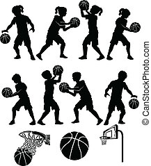 junge, m�dchen, basketball, silhouette, kind