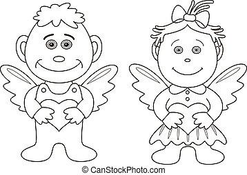 junge, m�dchen, engel, konturen, herzen