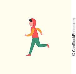 junge, mann, arbeitende , rennender , teenager, jogging, heraus
