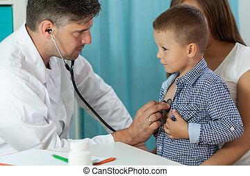 junge, medizin, verabredung, während, mutter