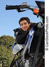 junge, motorrad