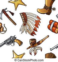 junge, muster, indianer, seamless, gewebe, vektor, design, cowboys, kind