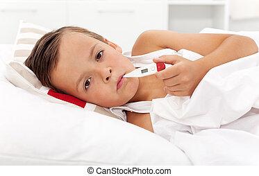 junge, nehmen von temperatur, krank, thermometer