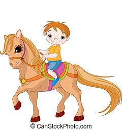 junge, pferd