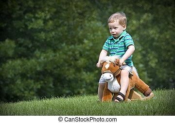 junge pferd gro bucht field kind reiten outdoors bilder fotografien und foto. Black Bedroom Furniture Sets. Home Design Ideas