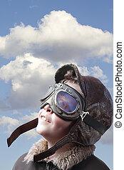 junge, pilot?s, angekleidet, glasses., ausrüstung, jacke,...