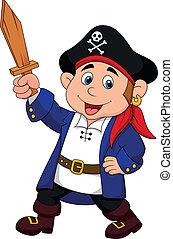 junge, pirat, karikatur