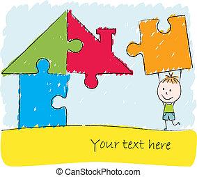 junge, puzzel, lösen, haus