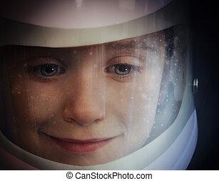 junge, raum, astronaut, helm