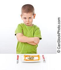 junge, refuses, zu, essende