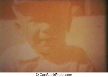 junge, reitet, traktor, draußen, (1964)