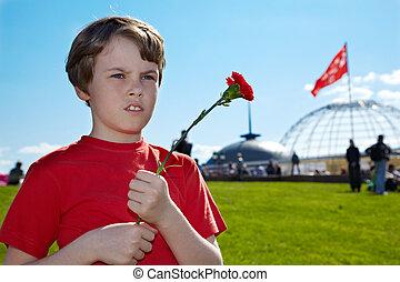 junge, roten, t-shirt, mit, rotes , rosa, in, der, hände,...