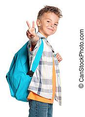 junge, rucksack