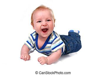 junge, säugling, seine, bauch, lachender, baby, liegen