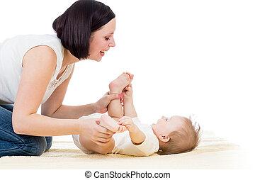 junge, säugling, sie, spaß, mutter, baby, haben, glücklich