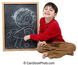 junge, schule, ausschnitt, tafel, pfad, zeichnung