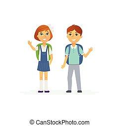 junge, schule, -, charaktere, m�dchen, kinder, glücklich