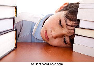 junge, schule, eingeschlafen, tisch