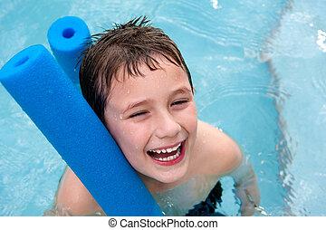 junge, schwimmbad, glücklich