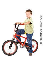 junge, seine, geliebt, fahrrad, glücklich