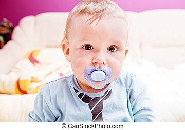 junge, seine, schnuller, junger, mund, baby, porträt