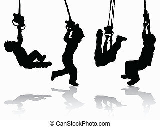 junge, silhouette, gymnastisch