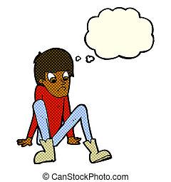 junge sitting, boden, gedankenblase, karikatur