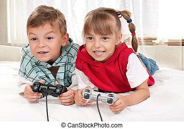Junge, spiel,  video, m�dchen, spielende, glücklich