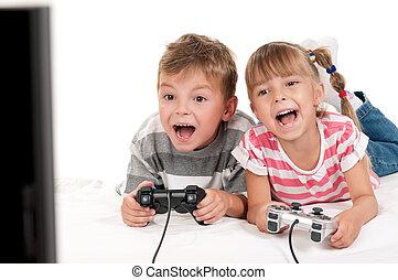 junge, spiel, video, m�dchen, spielende , glücklich