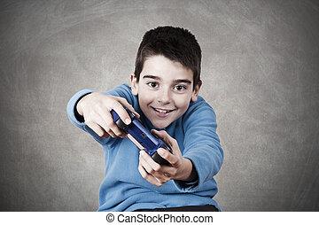 junge, spiel, video, spielende