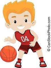 junge, spielen basketball